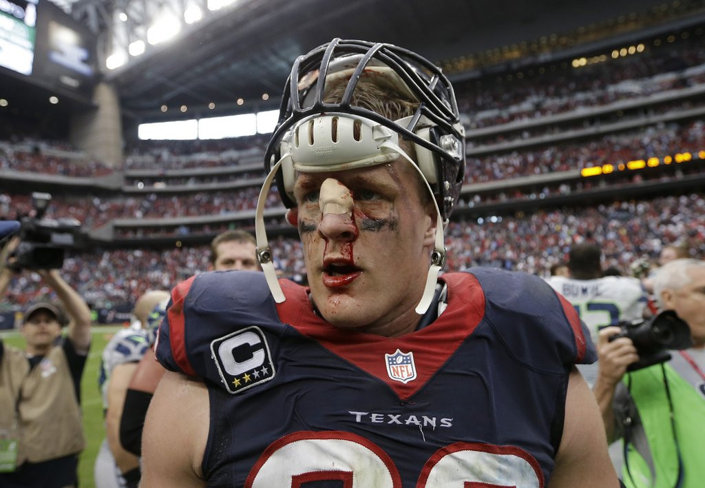 . <p><b> Texans at Titans (-7):</b>  <p>Houston end J.J. Watt says he�s considering plastic surgery on his oft-mangled nose after the season. The injury to the 2012 Defensive Player of the Year is surprising because it�s mostly been the Texans� asses that have been kicked this season. <p>Pick: <b>Titans by 3</b> <p>    (AP Photo/David J. Phillip, File)