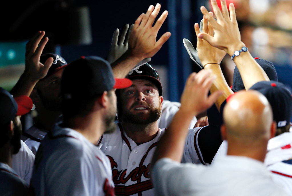 . Brian McCannof the Atlanta Braves celebrates after hitting a solo homer in the fourth inning.  (Photo by Kevin C. Cox/Getty Images)