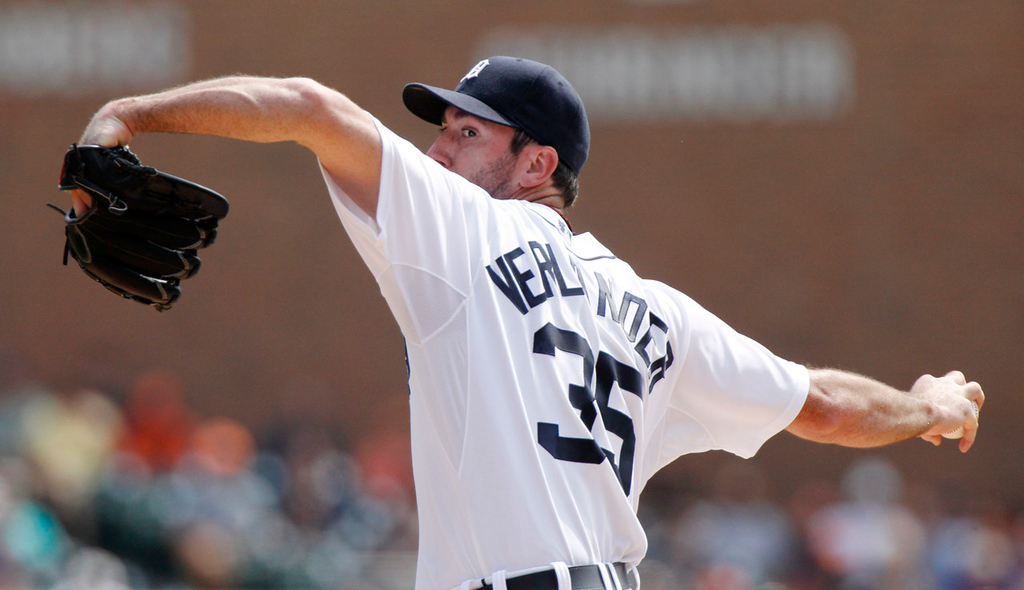 . Tigers starter Justin Verlander pitches against the Twins in the first inning. (AP Photo/Duane Burleson)