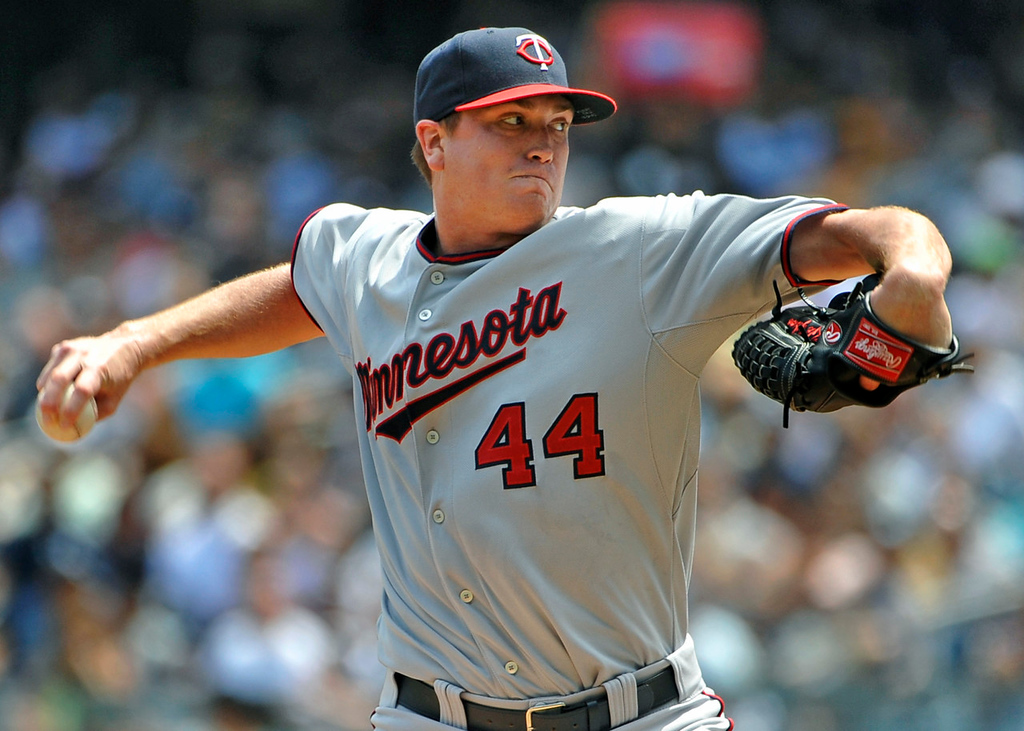 . Twins starting pitcher Kyle Gibson throws against the Yankees in the first inning. (AP Photo/Kathy Kmonicek)
