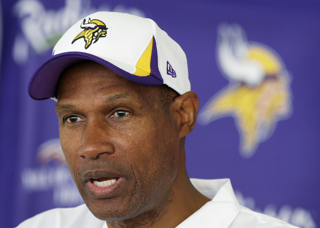 """. \""""We get a chance to play football the way it�s played on Sundays,\"""" said Vikings coach Leslie Frazier, about Monday\'s first practice in pads. \""""That will be a good challenge for our players and give us a good chance to evaluate our players. We�re all excited about that.\""""   (AP Photo/Charlie Neibergall)"""