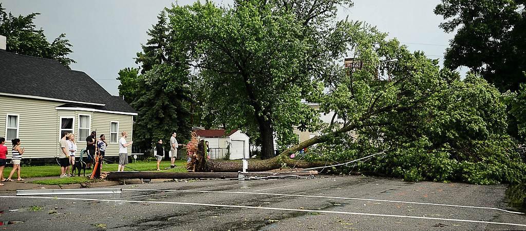 . A large fallen tree blocks 36th Street in Minneapolis. (Pioneer Press: Ben Garvin)