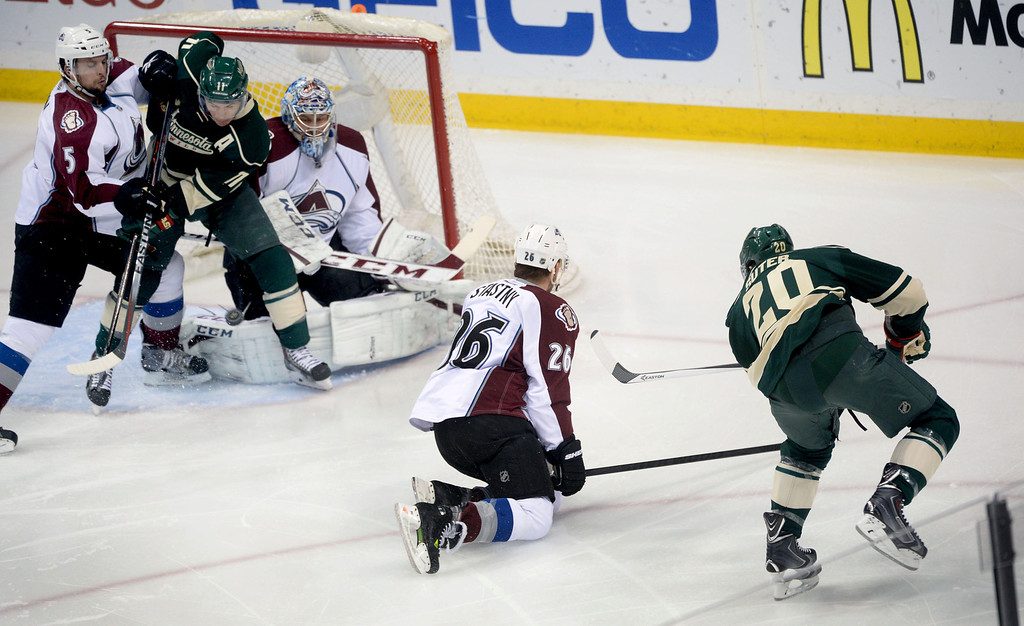 . Minnesota Wild\'s Zach Parise tips a shot from Ryan Suter to score a goal in the first period.  (Pioneer Press: Sherri LaRose-Chiglo)