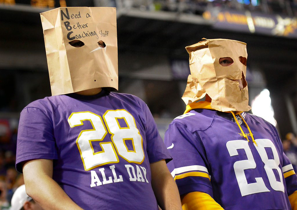 . 7. VIKINGS FANS <p>If he could bring them a Super Bowl title, many would accept a coach who ACTUALLY nuked someone till they glowed.  </p><p>   (Pioneer Press: Sherri LaRose-Chiglo)</p>
