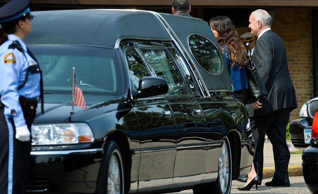 . Minnesota Gov. Mark Dayton arrives at St. Stephen\'s Lutheran Church for officer Patrick\'s services.  (Pioneer Press: Ben Garvin)