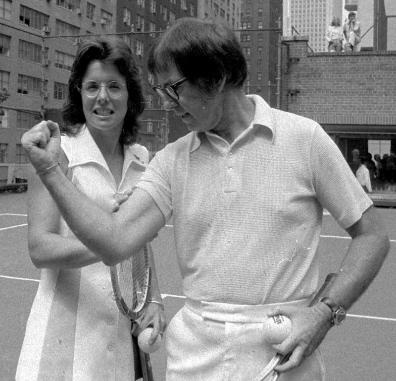 """. <p>9. BOBBY RIGGS & BILLIE JEAN KING  <p>Forty years ago, a landmark moment in the history of fixed sports. (unranked) <p><b><a href=\'http://espn.go.com/espn/feature/story/_/id/9589625/the-match-maker\' target=\""""_blank\""""> HUH?</a></b> <p>    (AP Photo)"""