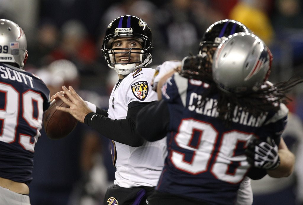 ". <p><b> Baltimore quarterback Joe Flacco made news with comments about former teammate Ray Lewis, saying that this �didn�t even make sense� � </b> <p> A. Lewis� pregame speeches  <p> B. Lewis� postgame comments  <p> C. Lewis� double murder alibi  <p><b><a href=\'http://tracking.si.com/2013/08/23/joe-flacco-ray-lewis-speeches-didnt-make-sense/\' target=""_blank\"">HUH?</a></b> <p>    (AP Photo/Stephan Savoia)"