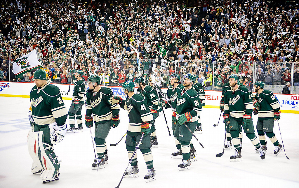 . Minnesota Wild players head back to the dressing room after beating the Colorado Avalanche in Game 6. (Pioneer Press: Ben Garvin)