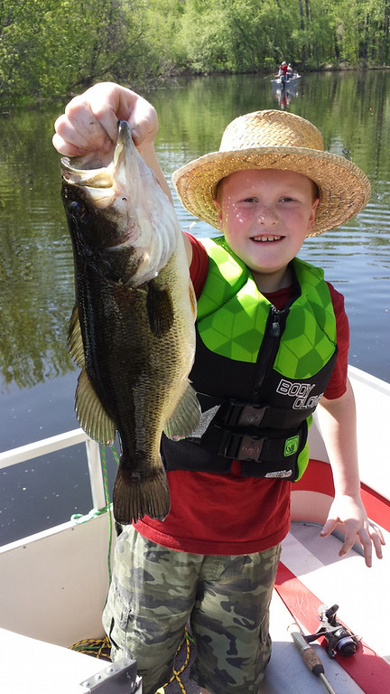 . The chubby largemouth was the first bass for Eddie Kern, 9, who pulled it out of East Rush Lake in Chisago County Memorial Day weekend. (Photo courtesy Kern family)