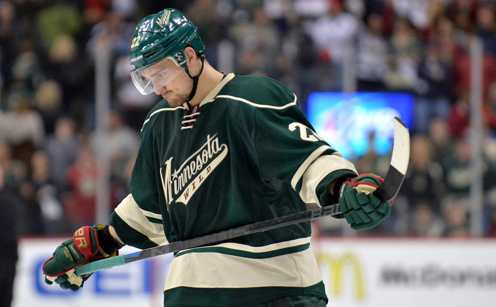 . Minnesota\'s Nino Niederreiter skates slowly off the ice after Chicago beat the Wild in overtime 2-1 to win Game 6 of the second round of the Stanley Cup Playoffs at Xcel Energy Center in St. Paul on Tuesday, May 13, 2014. (Pioneer Press: Ben Garvin)