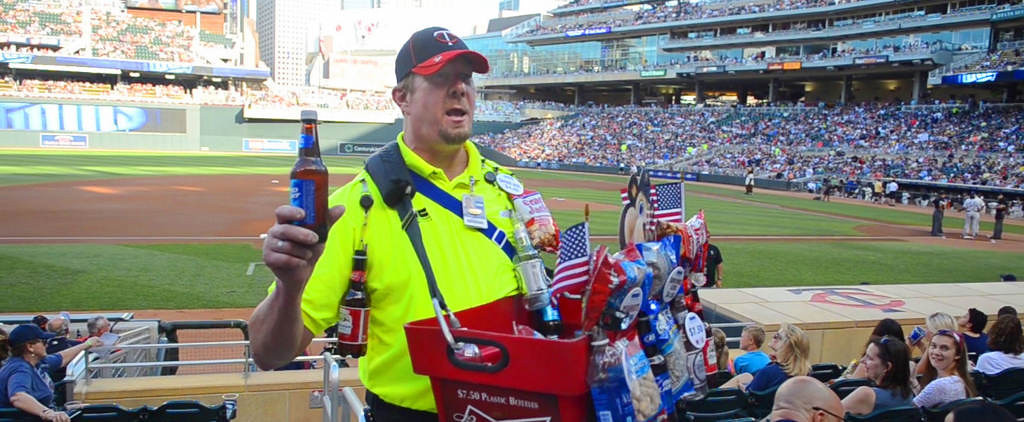. Mark Carlson, a beer vendor at Target Field, works the crowd. (Pioneer Press: C.J. Sinner)