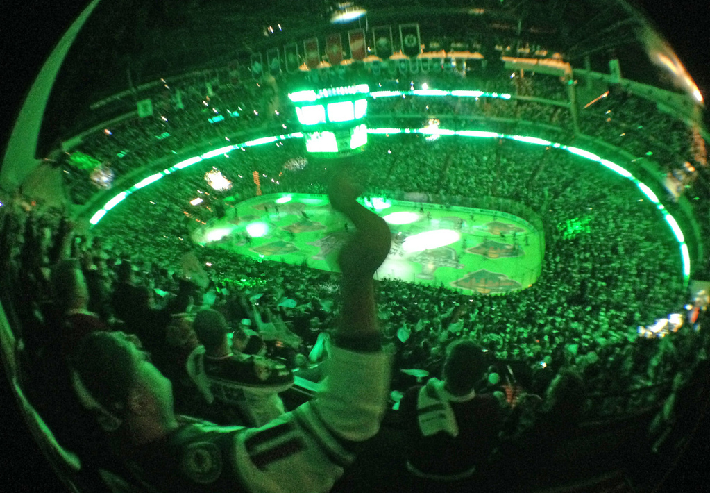 . The Xcel Energy Center is bathed in Wild Green as the capacity crowd roars just prior to the puck drop as the Minnesota Wild play the Chicago Blackhawks in Game 6. (Pioneer Press: Ben Garvin)