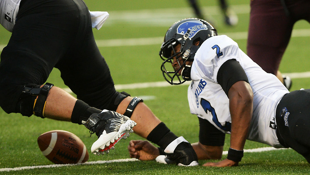 . Eastern Illinois quarterback Jalen Whitlow bobbles the snap in the first quarter.  (Pioneer Press: John Autey)