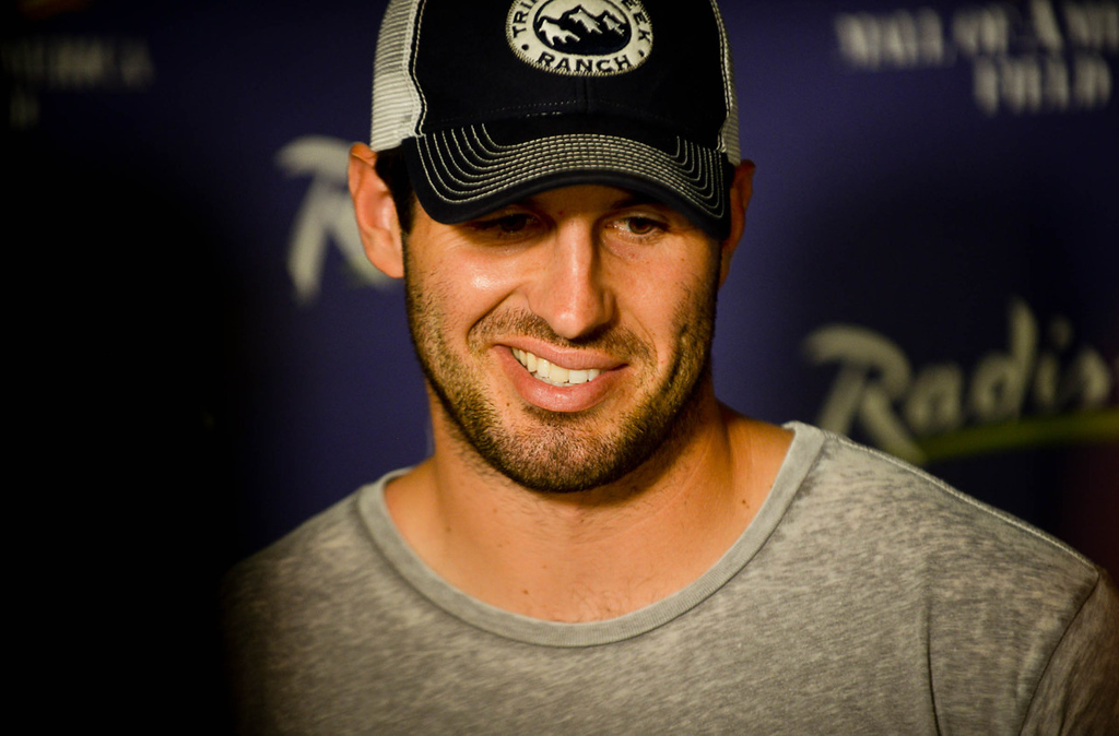 . Vikings quarterback Christian Ponder answers the media\'s questions at training camp.   (Pioneer Press: Ben Garvin)