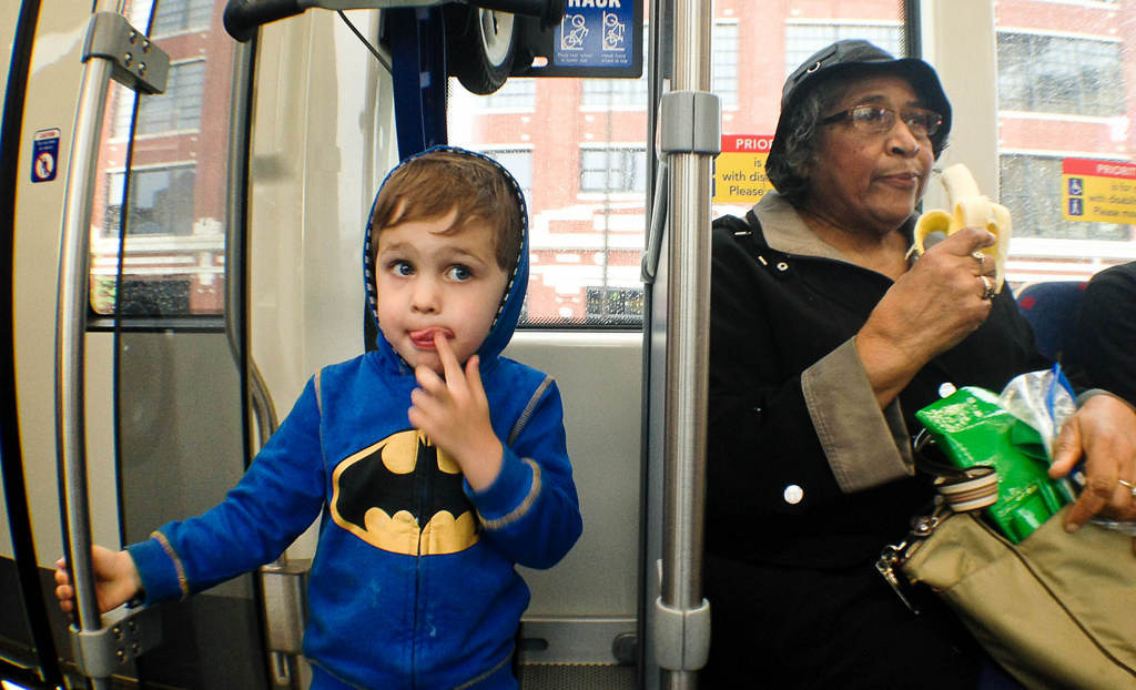 . Batman and a banana were found on a train on opening day of the Metro Transit Green Line light rail train in St. Paul.  (Pioneer Press: Ben Garvin)