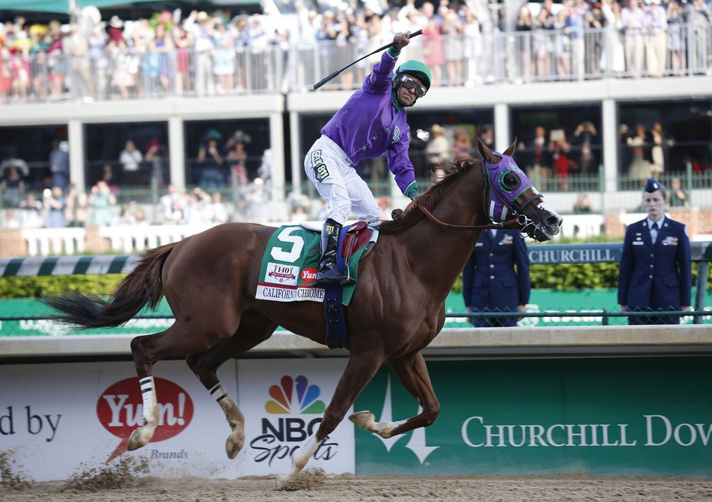 ". <p><b> The 140th running of the Kentucky Derby was Saturday in Louisville, and the winner was � </b> <p> A. California Chrome <p> B. Commanding Curve <p> C. Ahorseyouneverheardof <p><b><a href=\'http://www.twincities.com/sports/ci_25691745/california-chrome-wins-140th-kentucky-derby\' target=""_blank\""> LINK </a></b> <p>    (Ron Garrison/Lexington Herald-Leader/MCT)"