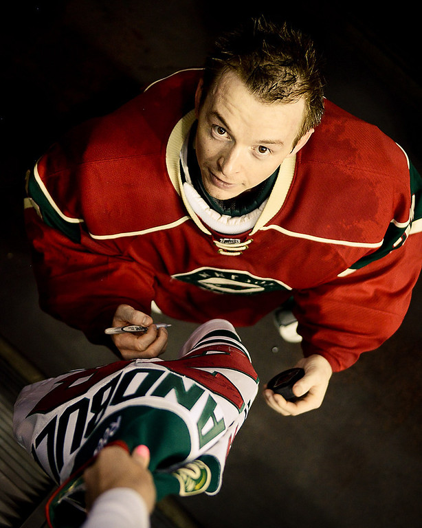 . Wild goalie John Curry stopped 43 shots, a career high, in his Wild debut en route to the win in the fifth NHL game of his career Thursday, April 10, 2014, at Xcel Energy Center in St. Paul. The Wild beat the Blues 4-2. (Pioneer Press: Ben Garvin)
