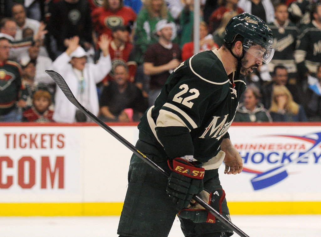 . Frustrated Wild winger Cal Clutterbuck skates back to the bench after Minnesota failed to score on a a power play against Chicago in the second period. (Pioneer Press: John Autey)