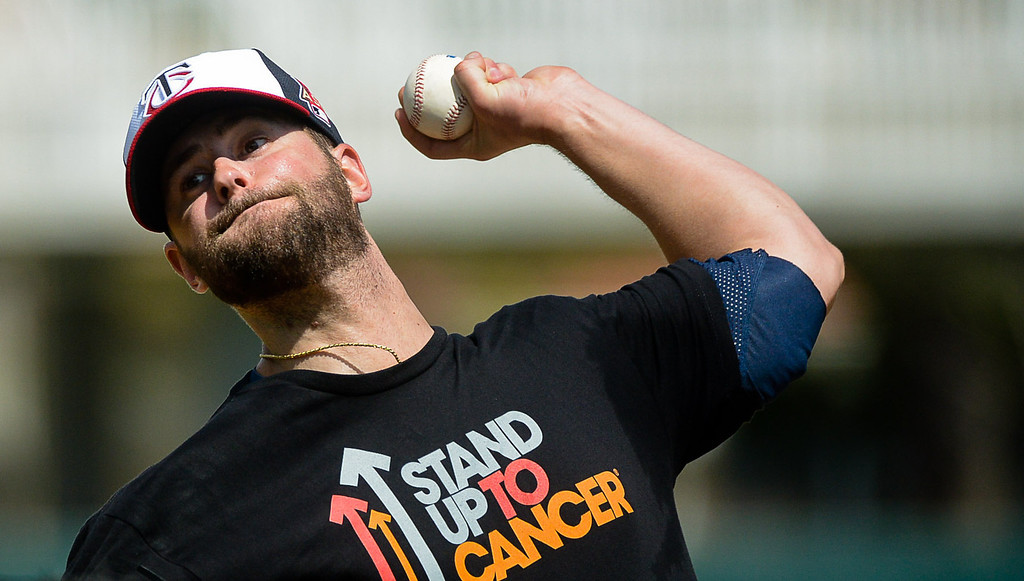 . Pitcher Scott Diamond, a solid candidate for the #5 spot in the rotation, delivers a pitch during live batting practice. (Pioneer Press: Ben Garvin)