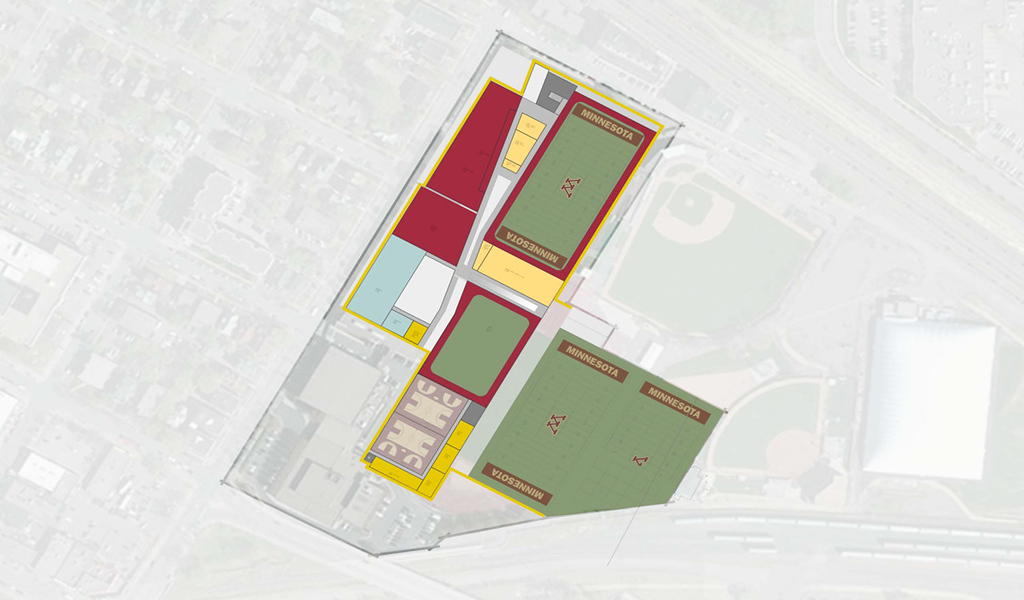 . The footprint for the sports facilities plan sits over the current footprint of the Bierman Fieldhouse Athletic Building/Bronko-Nagurski Football Building. Rendering courtesy of the University of Minnesota)
