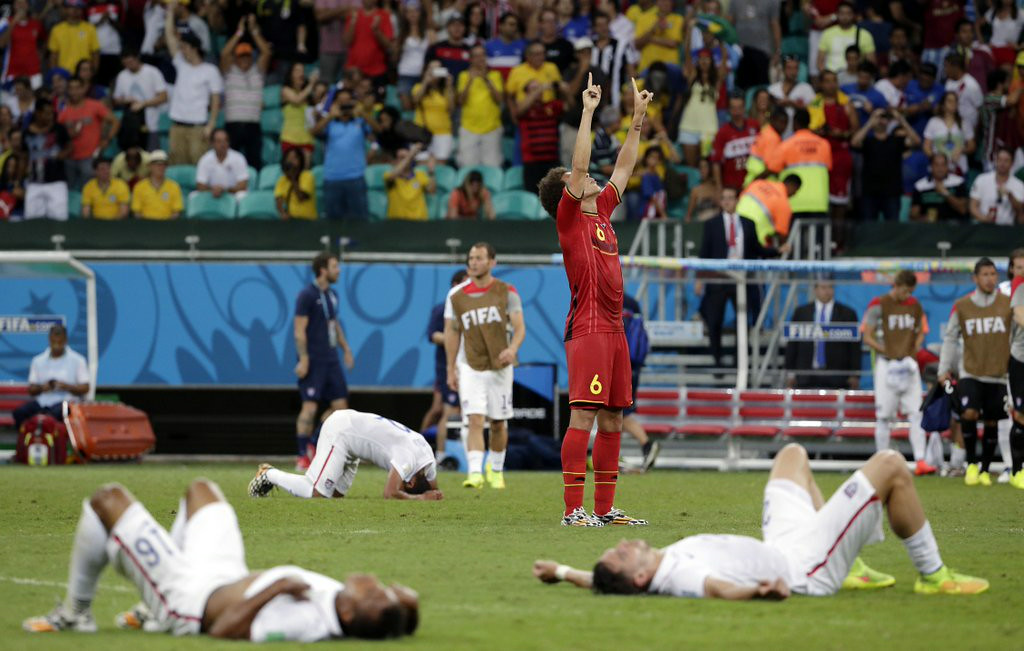 """. <p><b> The World Cup TV ratings are out, and Neilsen reports that 21.6 Americans last week watched � </b> <p> A. The U.S.-Belgium matchup in the round of 16 <p> B. The last soccer game they will look at until 2018 <p> C. All of the above <p><b><a href=\'http://abcnews.go.com/Sports/wireStory/nielsen-216-million-viewers-belgium-game-24404281\' target=\""""_blank\"""">LINK</a></b> <p>   (AP Photo/Felipe Dana, File)"""