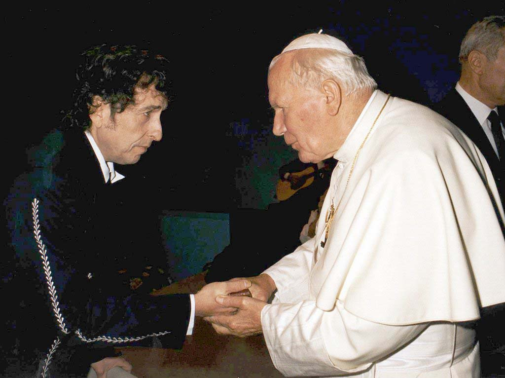 . 1997: Bob Dylan meets Pope John Paul II beforea concert in honour of the Pontiff in Bologna Saturday, September 27, 1997. An estimated crowd of 300,000 youths attended the concert. (Associated Press)