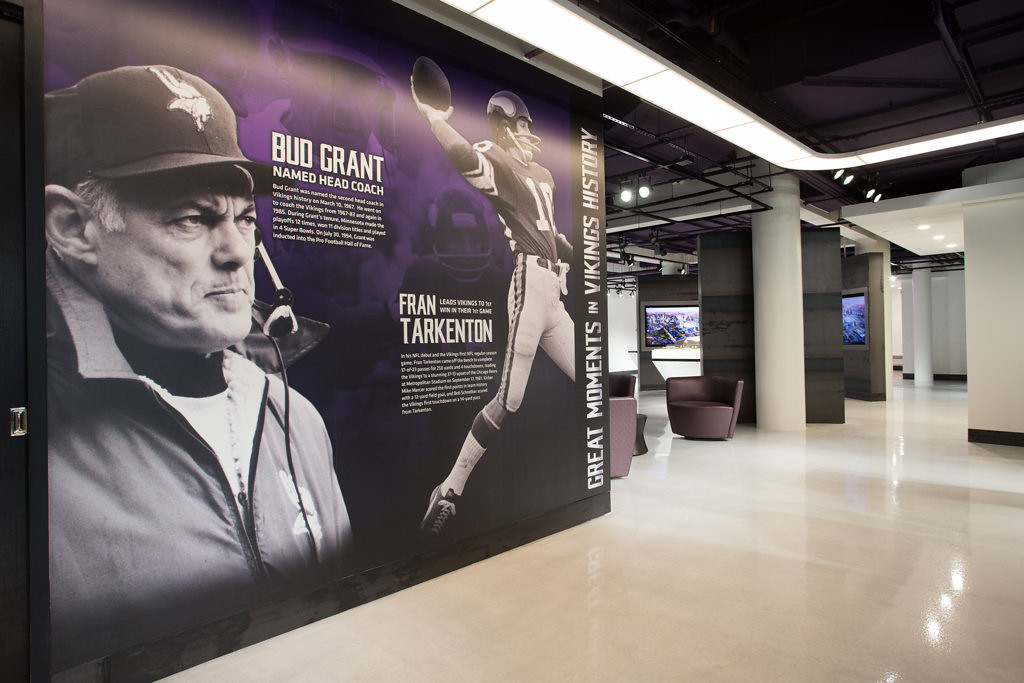 . The interactive center, located on the fifth floor of the 1010 Metrodome Square Building overlooking the stadium construction site, includes suite and club seat replicas, interactive kiosks and 360-degree panoramic views from various vantage points inside the new stadium.  (Photo courtesy of the  Minnesota Vikings)