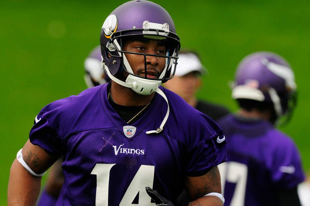 . Joe Webb, formerly a backup quarterback with the Vikings, works out at wide receiver.  (Pioneer Press: Scott Takushi)
