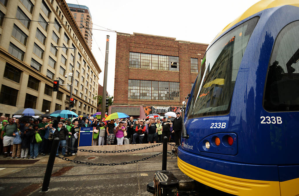 . The inaugural train carrying VIP\'s departs the Union Station during the Metro Transit Green Line Grand Opening in St. Paul, Saturday June 14, 2014. (Pioneer Press: John Autey)