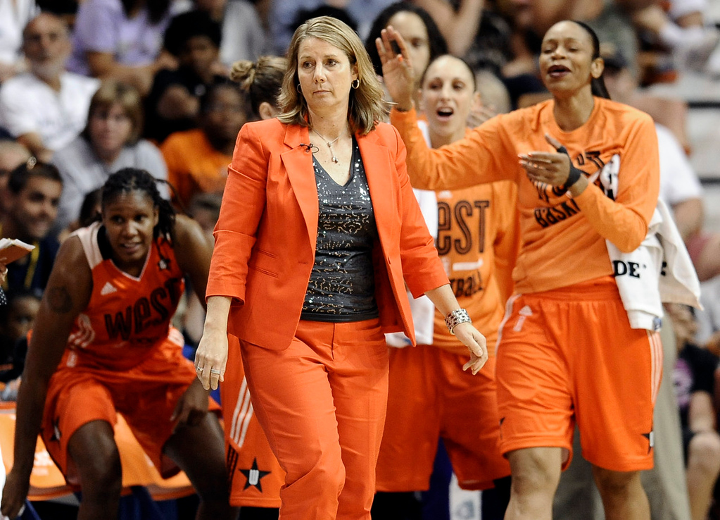 . West coach Cheryl Reeve, of the Minnesota Lynx, stands with her team during the second half. (AP Photo/Jessica Hill)