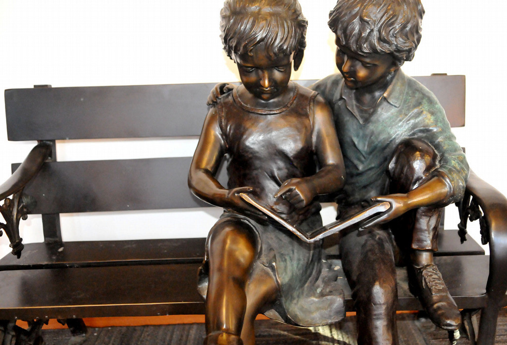 . A bronze sculpture in the entryway to Cornerstone Montessori Elementary School on St. Paul\'s East Side gives a feeling for the student-driven learning stressed at Cornerstone Montessori school. (Pioneer Press: John Doman)