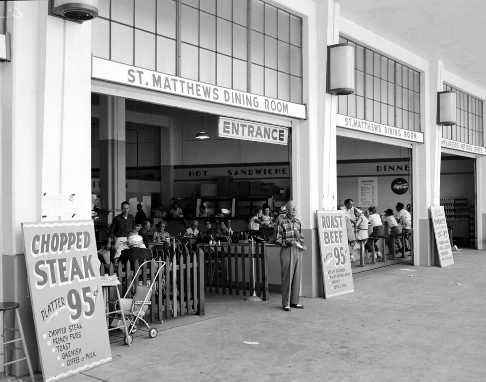. St. Mathew\'s Church dining hall at the Minnesota State Fair, Sept. 3, 1955. Photo courtesy of the Minnesota State Fair.
