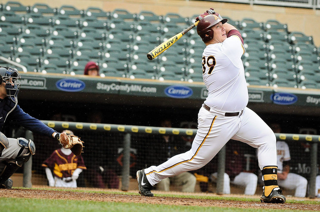 . Minnesota\'s Alex LaShomb lifts a ball foul in the sixth inning before going down swinging. (Pioneer Press: Ben Garvin)