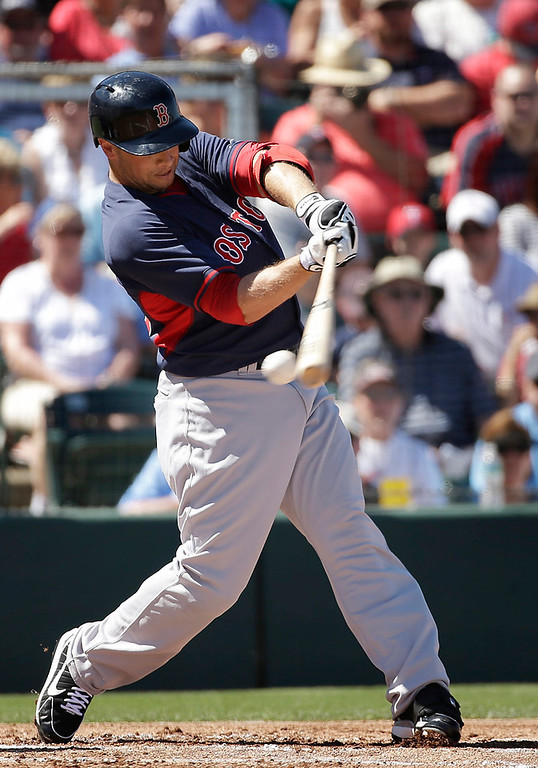 . Boston Red Sox\'s Daniel Nava swings at a pitch by Minnesota Twins\' Scott Diamond in the first inning of an exhibition baseball game, Saturday, March 1, 2014, in Fort Myers, Fla. (AP Photo/Steven Senne)