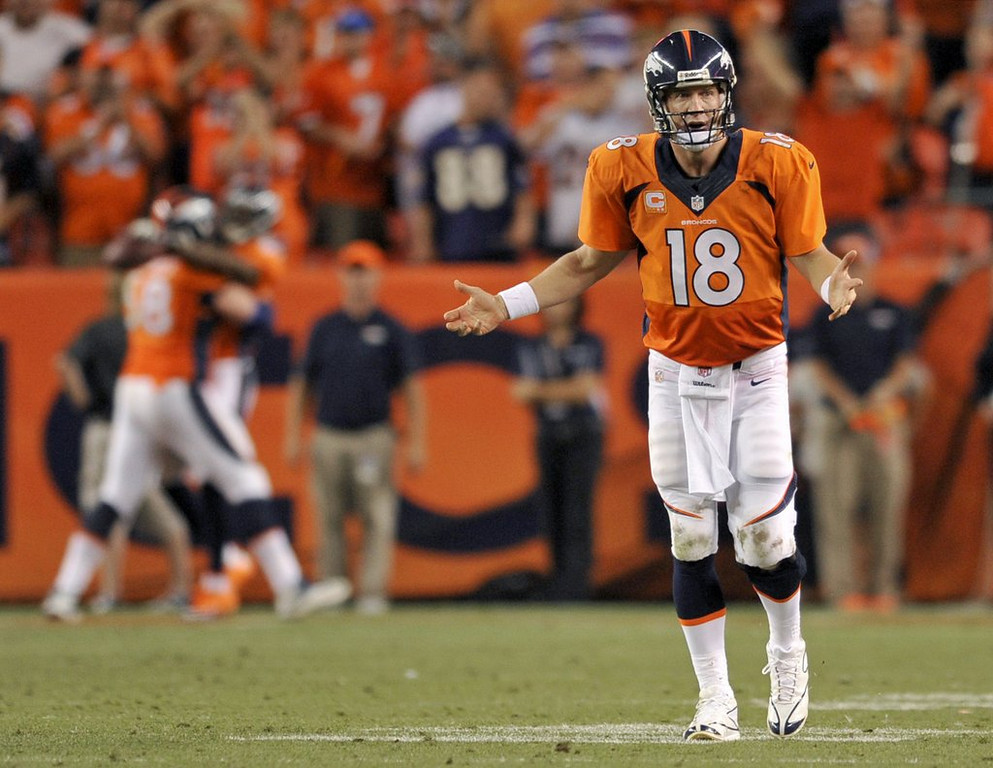 ". <p>5. (tie) PEYTON MANNING  <p>Where were all these touchdowns against the Ravens when he needed them in January? (unranked) <p><b><a href=\'http://www.usatoday.com/story/sports/nfl/2013/09/06/peyton-manning-joe-kapp-seven-touchdowns-baltimore/2777325/\' target=""_blank\""> HUH?</a></b> <p>    (AP Photo/Jack Dempsey)"