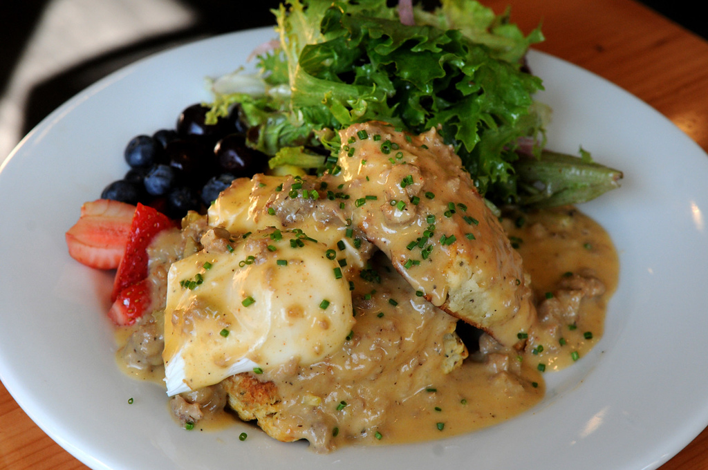. Biscuits and gravy include homemade buttermilk-thyme biscuits with Fischer Farms sage sausage gravy and organic poached eggs. (Pioneer Press: Jean Pieri)