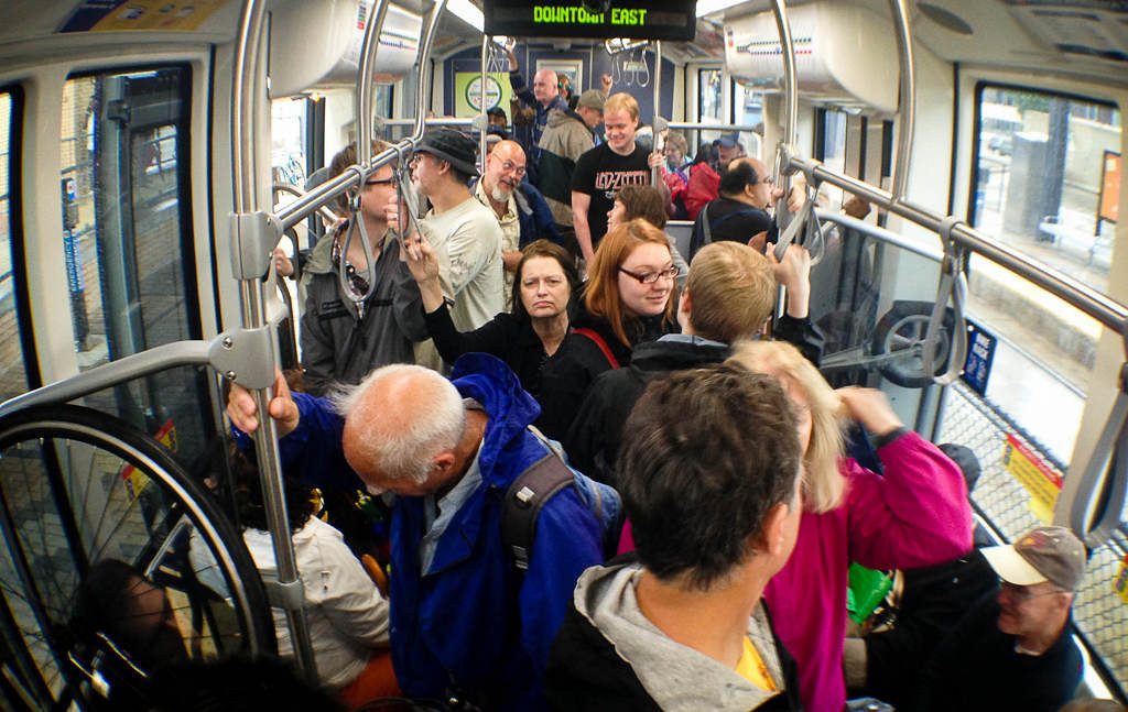 . Most cars were standing room only on opening day of the Metro Transit Green Line light rail train in St. Paul.  (Pioneer Press: Ben Garvin)