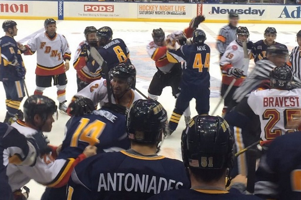 """. <p>10. (tie) NYPD-FDNY HOCKEY BRAWL <p>Their first response, apparently, was to use their fists. (unranked) <p><b><a href=\'http://nypost.com/2014/04/06/nypd-fdny-get-into-massive-brawl-at-charity-hockey-game/\' target=\""""_blank\""""> HUH?</a></b> <p>    (Photo from Instagram)"""