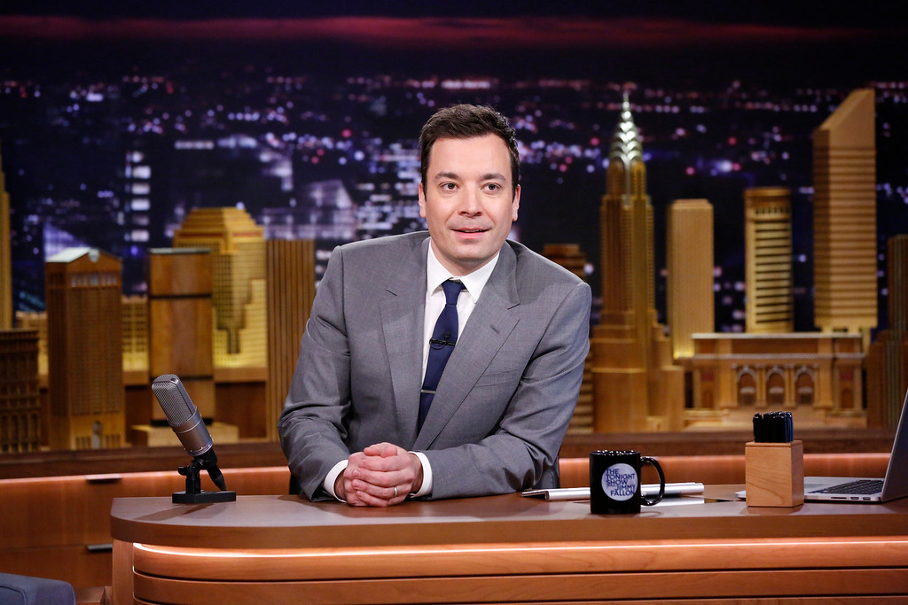 ". <p><b> NBC late night host Jimmy Fallon last week began a new phase in his career when he started � </b> <p> A. Hosting �The Tonight Show� <p> B. Shamelessly kissing up to his nightly guests one hour earlier than before <p> C. All of the above <p><b><a href=\'http://www.nydailynews.com/entertainment/tv-movies/tonight-show-jimmy-fallon-shaky-start-lots-nyc-article-1.1617927\' target=""_blank\"">HUH?</a></b> <p>    (AP Photo/NBC, Lloyd Bishop)"