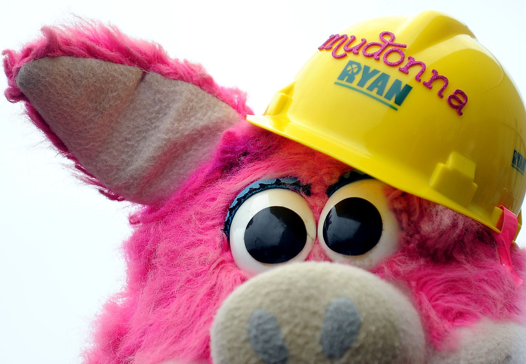 ". Saint Paul Saints mascot ""Mudonna\"" makes sure she is safe with a hardhat for the  ballpark site demolition on Saturday. (Pioneer Press: Sherri LaRose-Chiglo)"