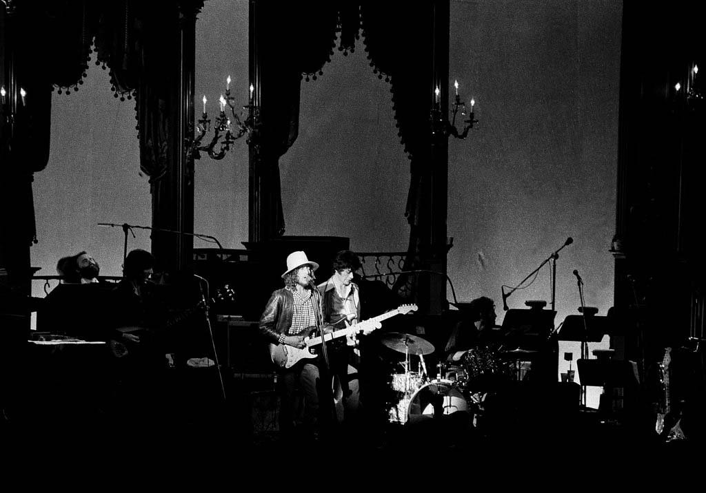 . Singer/songwriter Bob Dylan performs on stage at the final live performance of The Band with several musical superstars as guest performers, at Winterland Ballroom, San Francisco, Nov. 26, 1976.  (AP Photo/John Storey)