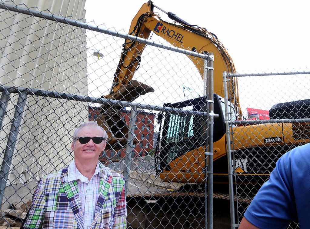 . Co-owner actor Bill Murray (a cardboard cut out) watches over the ballpark site demolition.  (Pioneer Press: Sherri LaRose-Chiglo)