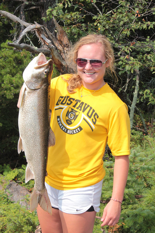 . On her first time trout fishing, Emily Reibert, 20, of Inver Grove Heights caught this 30.5-inch, 10-pound 7-ounce lake trout July 29 on Whitefish Bay on Lake of the Woods, Ontario. (Courtesy Kelly Reibert)