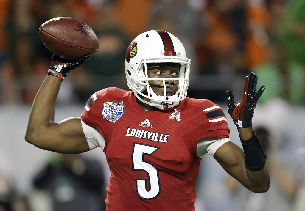 . <p><b>31. Denver: Teddy Bridgewater, QB, Louisville. </b> <p>The sinking Bridgewater finally gets thrown a life preserver. If he doesn\'t go high in the draft, there might not be too many better situations than the chance to learn under Peyton Manning.  (AP Photo/John Raoux, File)
