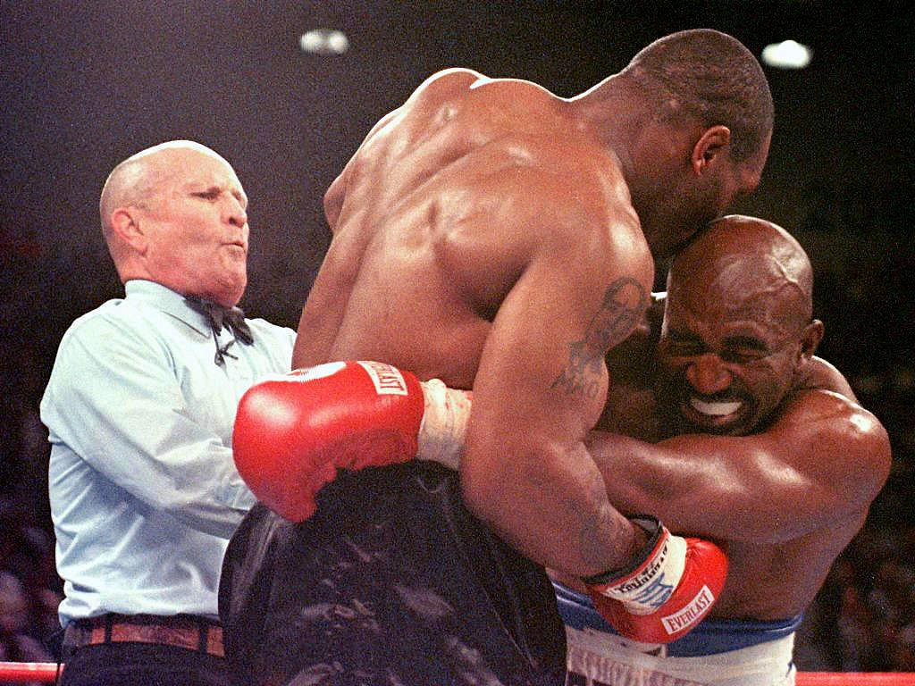 """. <p><b> Former heavyweight champ Mike Tyson will be in the spotlight next month when he�s the official presenter for the Nevada Boxing Hall of Fame induction of � </b> </p><p> A. Evander Holyfield </p><p> B. Evander Holyfield�s ear </p><p> C. All of the above </p><p><b><a href=\""""http://abcnews.go.com/Sports/tyson-present-holyfield-hall/story?id=24661494\"""" target=\""""_blank\"""">LINK</a></b> </p><p>    (Jeff Haynes/AFP/Getty Images)</p>"""