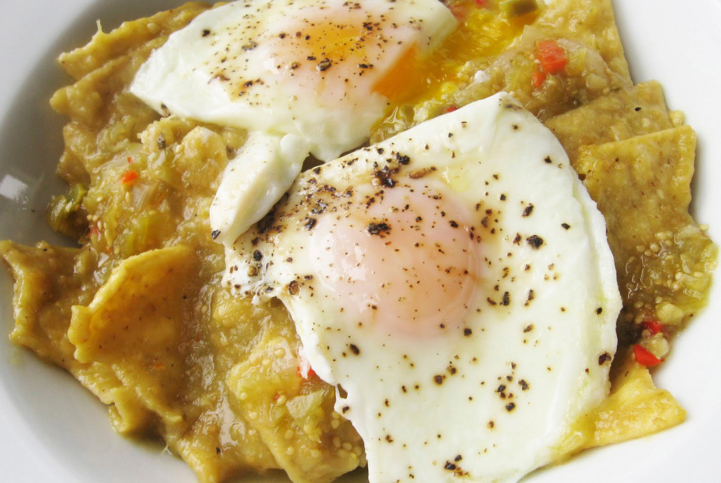 . Chilaquiles � Corn tortilla chips covered in chili verde sauce with chicken then topped with eggs and garnished with lettuce, tomato and sour cream � served until 10:30 a.m. At El Sol Mexican Food, on the southwest outside corner of the Food Building. (Courtesy of Minnesota State Fair)