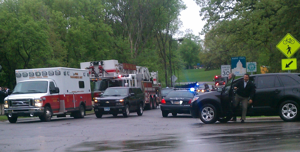 . Police and firefighters parked vehicles near Lilydale Regional Park as they worked to rescue children trapped after a landslide. (Pioneer Press: Mara H. Gottfried)