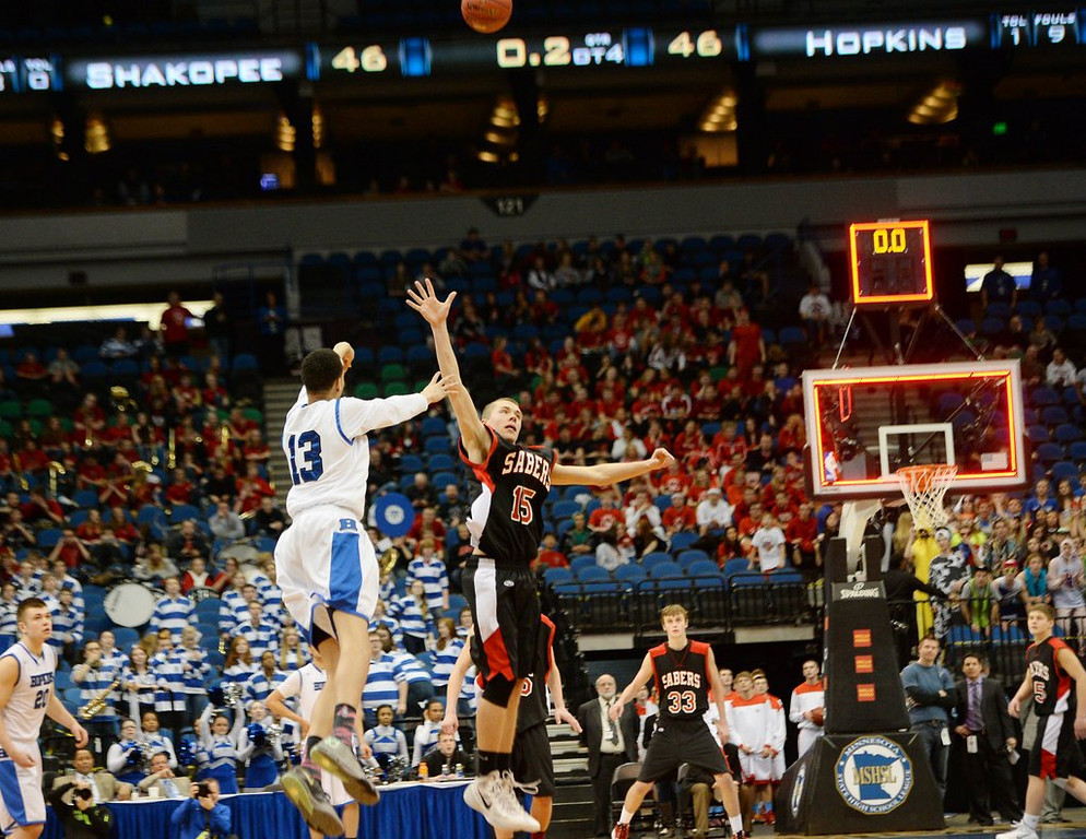 """. <p><b> Minnesota boys basketball history was made Thursday night in the Class AAAA semifinals when Hopkins � </b> <p> A. Won on a 60-foot shot by Amir Coffey at the end of the fourth overtime <p> B. Started a lineup made up entirely of transfer students <p> C. Froze the ball for three hours <p><b><a href=\'http://www.twincities.com/prep/ci_25340617/state-boys-basketball-hopkins-49-shakopee-46-4ot\' target=\""""_blank\"""">HUH?</a></b> <p>    (Pioneer Press: John Autey)"""