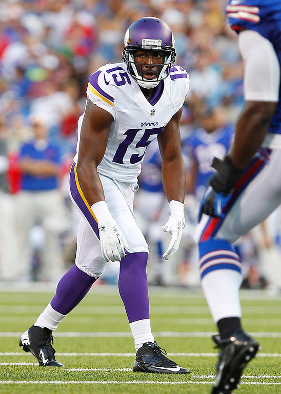 . Minnesota Vikings wide receiver Greg Jennings (15) lines up against the Buffalo Bills during the first half of an NFL preseason football game Friday, Aug. 16, 2013, in Orchard Park, N.Y.  (AP Photo/Bill Wippert)
