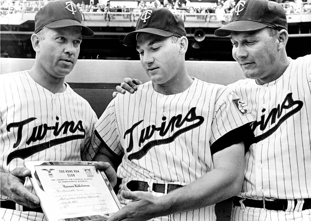 """. Harmon Killebrew joins the 200 Home Run club on Sept. 15, 1963. He is joined by teammates Wally Post, left and Vic Wertz. After Killebrew\'s death in 2011, team president Dave St. Peter said, \""""No individual has ever meant more to the Minnesota Twins organization.\"""" (Pioneer Press file)"""